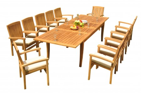 "13 PC Dining Set - 122"" Atnas Rectangle Table & 12 Wave Stacking Arm Chairs"