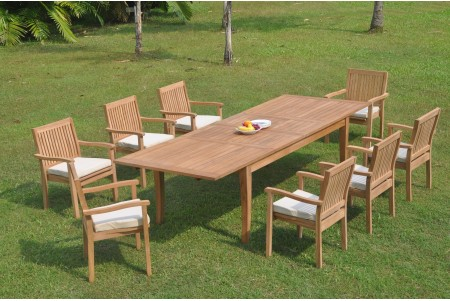 "9 PC Dining Set - 122"" Atnas Rectangle Table & 8 Leveb Stacking Arm Chairs"
