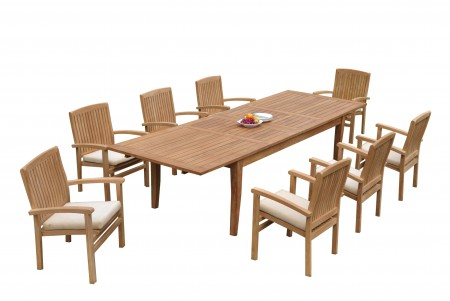 "9 PC Dining Set - 122"" Atnas Rectangle Table & 8 Wave Stacking Arm Chairs"