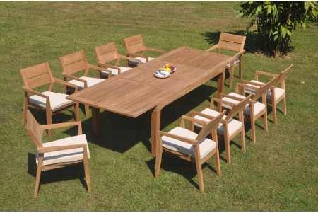"11 PC Dining Set - 122"" Caranas Rectangle Table & 10 Cellore Stacking Arm Chairs"