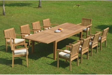 "11 PC Dining Set - 122"" Caranas Rectangle Table & 10 Leveb Stacking Arm Chairs"