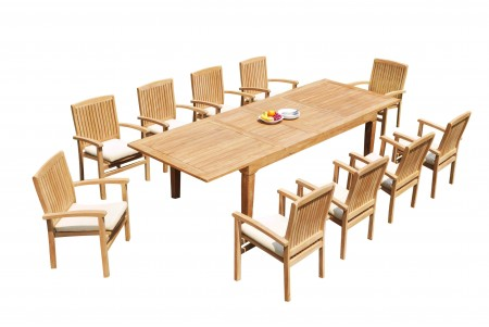 "11 PC Dining Set - 122"" Caranas Rectangle Table & 10 Wave Stacking Arm Chairs"
