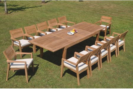"13 PC Dining Set - 122"" Caranas Rectangle Table & 12 Cellore Stacking Arm Chairs"