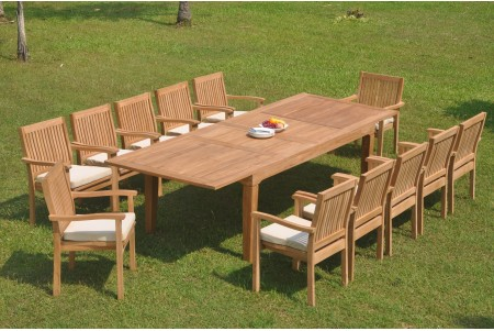 "13 PC Dining Set - 122"" Caranas Rectangle Table & 12 Leveb Stacking Arm Chairs"