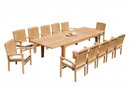 "13 PC Dining Set - 122"" Caranas Rectangle Table & 12 Wave Stacking Arm Chairs"