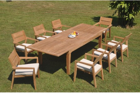 "9 PC Dining Set - 122"" Caranas Rectangle Table & 8 Cellore Stacking Arm Chairs"