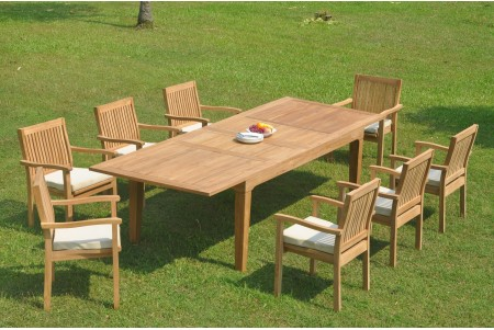 "9 PC Dining Set - 122"" Caranas Rectangle Table & 8 Leveb Stacking Arm Chairs"