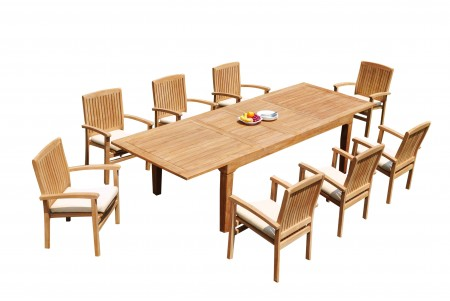 "9 PC Dining Set - 122"" Caranas Rectangle Table & 8 Wave Stacking Arm Chairs"