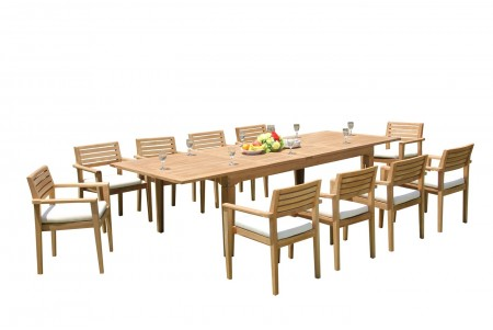 "11 PC Dining Set - 122"" Caranas Rectangle Table & 10 Montana Stacking Arm Chairs"