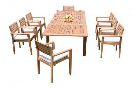 "9 PC Dining Set - 122"" Caranas Rectangle Table & 8 Montana Stacking Arm Chairs"