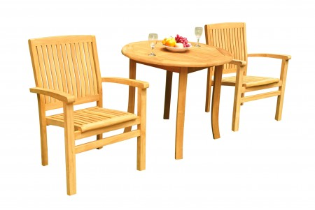 "3 PC Dining Set - 36"" Round Table & 2 Wave Stacking Arm Chairs"