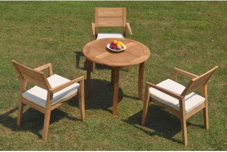 "4 PC Dining Set - 36"" Round Table & 3 Cellore Stacking Arm Chairs"