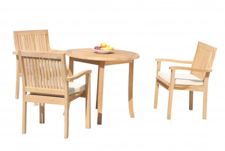 "4 PC Dining Set - 36"" Round Table & 3 Leveb Stacking Arm Chairs"