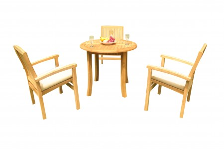 "4 PC Dining Set - 36"" Round Table & 3 Wave Stacking Arm Chairs"