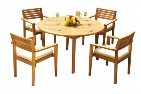 "5 PC Dining Set - 48"" Round Table & 4 Montana Stacking Arm Chairs"