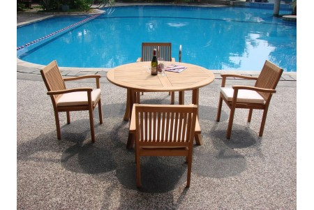 "5 PC Dining Set - 52"" Round Table & 4 Leveb Stacking Arm Chairs"