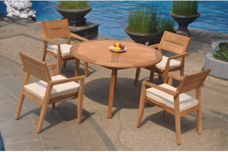 "5 PC Dining Set - 48"" Round Table & 4 Cellore Stacking Arm Chairs"