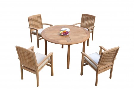 "5 PC Dining Set - 48"" Round Table & 4 Wave Stacking Arm Chairs"