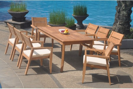 "9 PC Dining Set - 83"" Rectangle Table & 8 Cellore Stacking Arm Chairs"