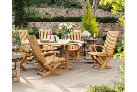 "7 PC Dining Set - 60"" Round Table & 6 Warwick Arm Chairs"