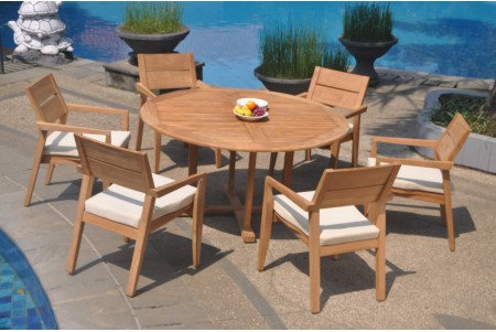 "7 PC Dining Set - 60"" Round Table & 6 Cellore Stacking Arm Chairs"
