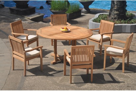 "7 PC Dining Set - 60"" Round Table & 6 Leveb Stacking Arm Chairs"