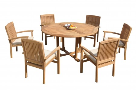 "7 PC Dining Set - 60"" Round Table & 6 Wave Stacking Arm Chairs"