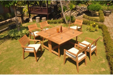 "7 PC Dining Set - 60"" Square Butterfly Table & 6 Cellore Stacking Arm Chairs"