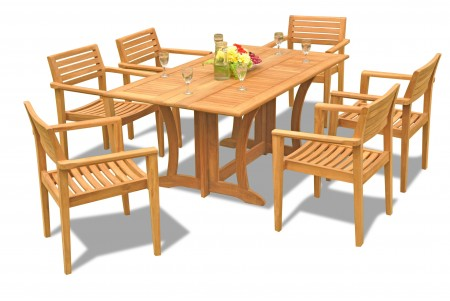 "7 PC Dining Set - 69"" Warwick & 6 Montana Stacking Arm Chairs"