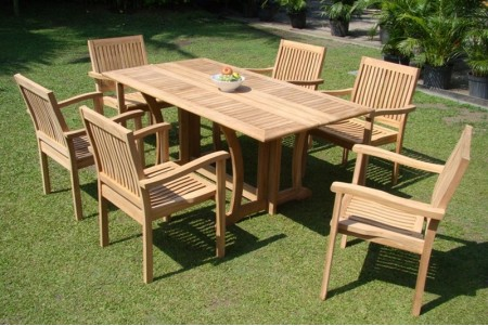"7 PC Dining Set - 69"" Warwick & 6 Leveb Stacking Arm Chairs"