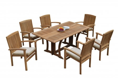 "7 PC Dining Set - 69"" Warwick & 6 Wave Stacking Arm Chairs"
