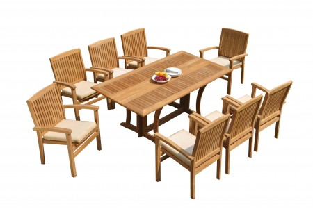 "9 PC Dining Set - 69"" Warwick & 8 Wave Stacking Arm Chairs"