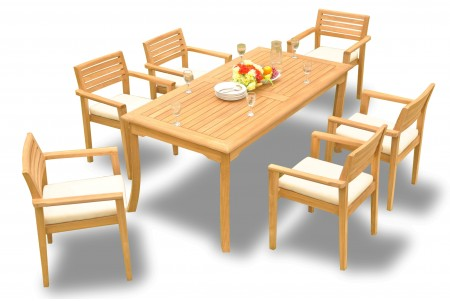 "7 PC Dining Set - 60"" Rectangle Table & 6 Montana Stacking Arm Chairs"