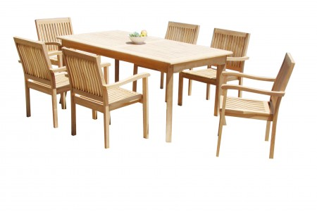 "7 PC Dining Set - 71"" Rectangle Table & 6 Leveb Stacking Arm Chairs"