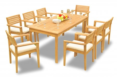 "9 PC Dining Set - 83"" Rectangle Table & 8 Montana Stacking Arm Chairs"