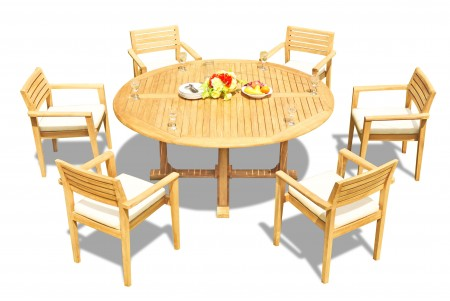 "7 PC Dining Set - 72"" Round Table & 6 Montana Stacking Arm Chairs"