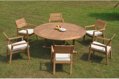 "7 PC Dining Set - 72"" Round Table & 6 Cellore Stacking Arm Chairs"