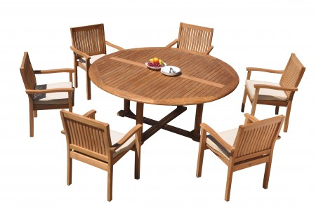 "7 PC Dining Set - 72"" Round Table & 6 Wave Stacking Arm Chairs"