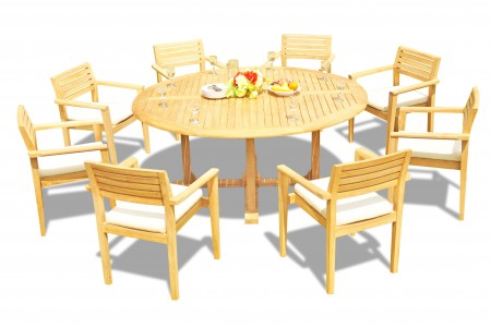 "9 PC Dining Set - 72"" Round Table & 8 Montana Stacking Arm Chairs"