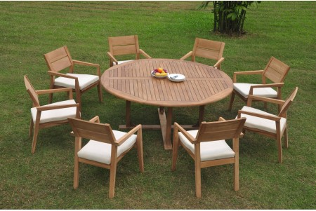 "9 PC Dining Set - 72"" Round Table & 8 Cellore Stacking Arm Chairs"