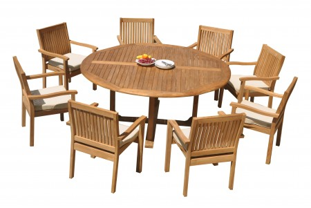 "9 PC Dining Set - 72"" Round Table & 8 Leveb Stacking Arm Chairs"