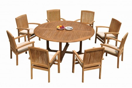 "9 PC Dining Set - 72"" Round Table & 8 Wave Stacking Arm Chairs"