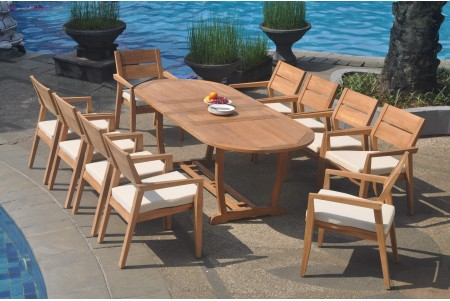 "11 PC Dining Set - 94"" Double Extension Masc Oval Table & 10 Cellore Stacking Arm Chairs"