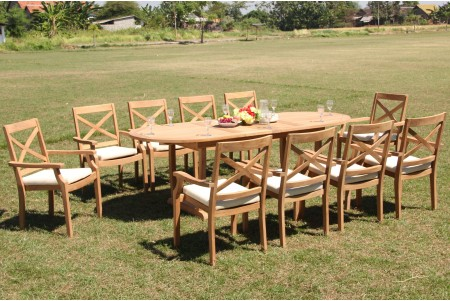 "11 PC Dining Set - 94"" Double Extension Masc Oval Table & 10 Granada Stacking Arm Chairs"