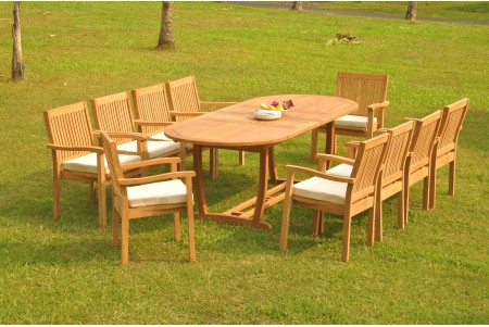 "11 PC Dining Set - 94"" Double Extension Masc Oval Table & 10 Leveb Stacking Arm Chairs"