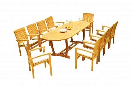 "11 PC Dining Set - 94"" Double Extension Masc Oval Table & 10 Wave Stacking Arm Chairs"