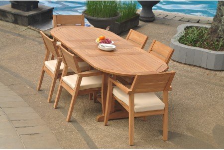 "7 PC Dining Set - 94"" Double Extension Masc Oval Table & 6 Cellore Stacking Arm Chairs"