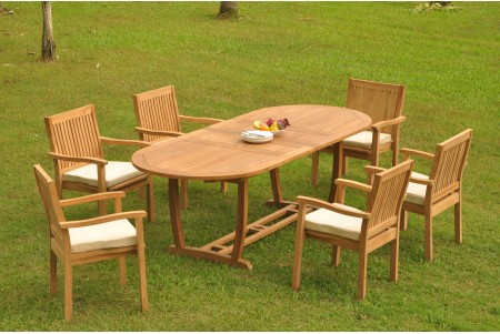 "7 PC Dining Set - 94"" Double Extension Masc Oval Table & 6 Leveb Stacking Arm Chairs"