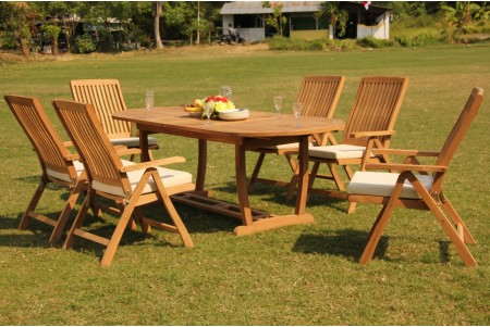 "7 PC Dining Set - 94"" Double Extension Masc Oval Table & 6 Marley Arm Chairs"