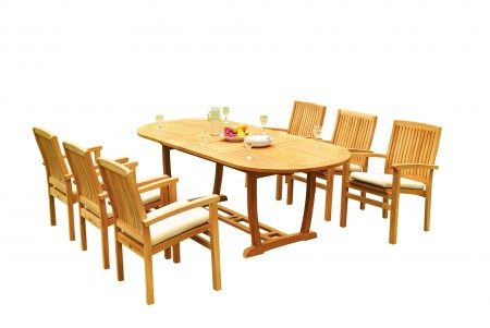 "7 PC Dining Set - 94"" Double Extension Masc Oval Table & 6 Wave Stacking Arm Chairs"